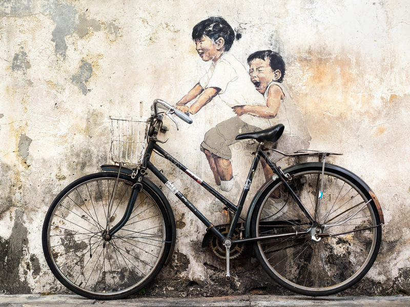 Rue Art Mural à Georgetown, Penang, Malaisie image libre de droits