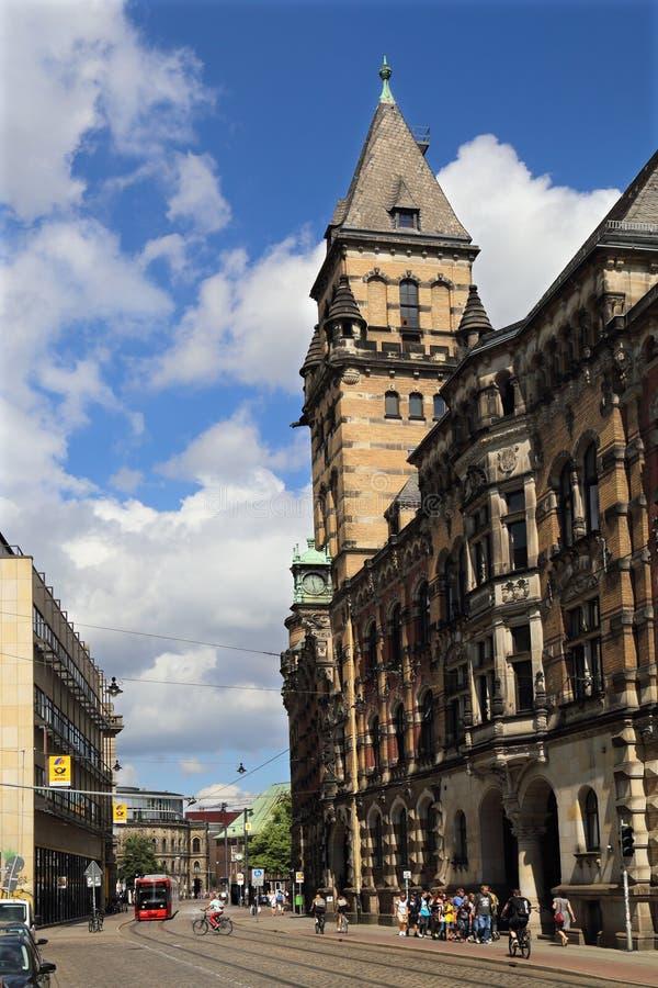 Rue aux bâtiments historiques de Brême, Allemagne image libre de droits