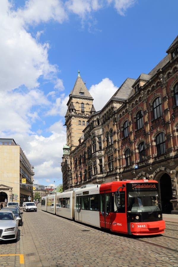 Rue aux bâtiments historiques de Brême, Allemagne photographie stock