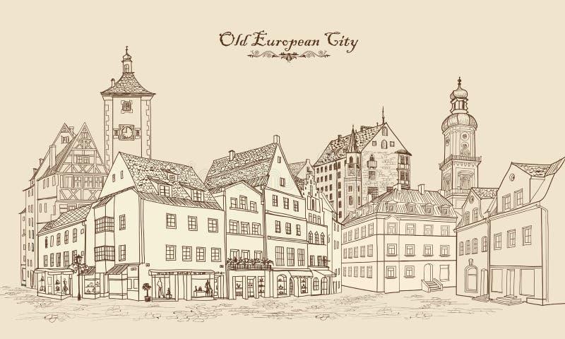 Rue avec de vieux bâtiments et café dans la vieille ville Paysage urbain illustration de vecteur