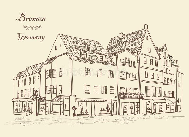 Rue avec de vieux bâtiments et café dans la vieille ville Vieille vue de ville illustration stock