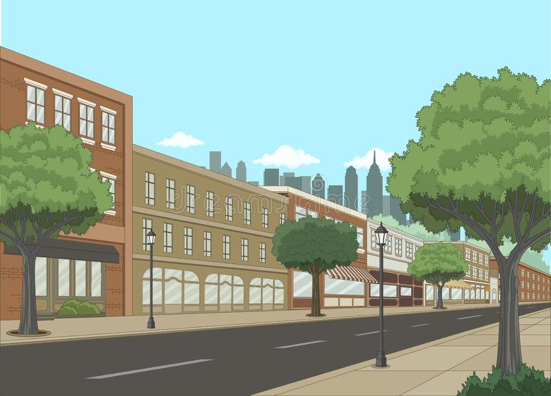 Rue avec des bâtiments et des arbres Grand paysage de ville illustration stock