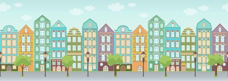 Rue avec les maisons, les arbres et les lanternes color?s, fronti?re sans couture, paysage urbain, vieux fond de ville Europ?en m illustration libre de droits