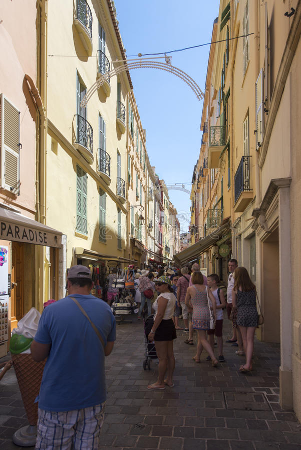 Rue Basse, Monaco. Rue Basse street in Monaco City district, Monaco. Monaco is a sovereign city-state and microstate, located on the French Riviera in Western stock photography