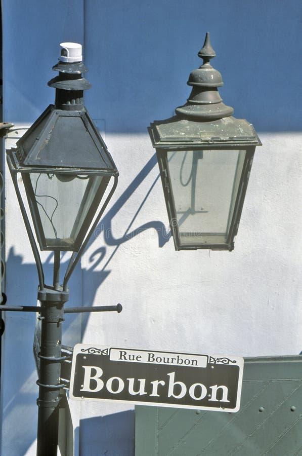 Rue Bourbon Street Sign, New Orleans, Luisiana fotografía de archivo libre de regalías