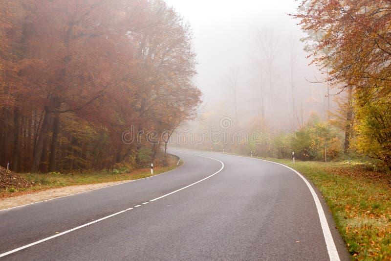 Rue brumeuse avec la visibilité réduite photos stock