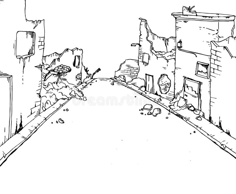 Rue cassée illustration stock