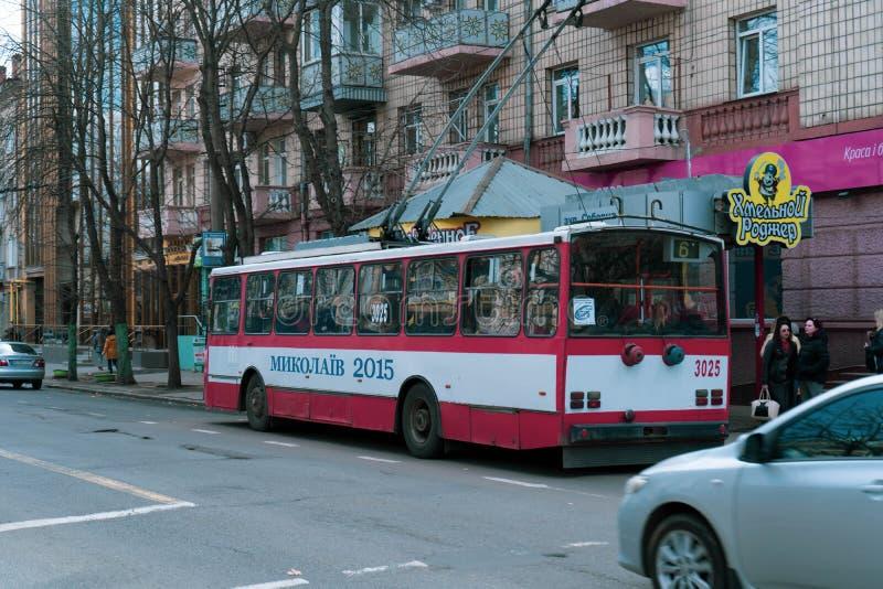 Rue centrale de ville de Mykolaiv, Ukraine 03/17/19 photographie stock libre de droits