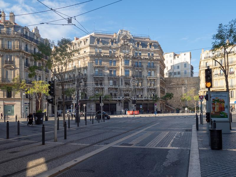 Rue Colbert Street à Marseille photographie stock