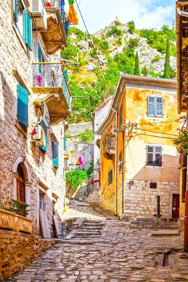 Rue colorée dans la vieille ville de Kotor photo stock