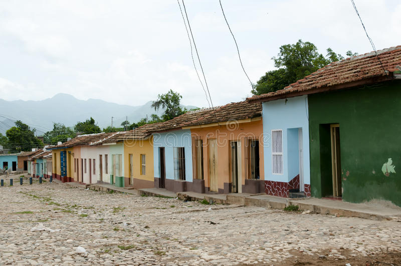 Rue colorée de pavé - Trinidad - Cuba photo stock