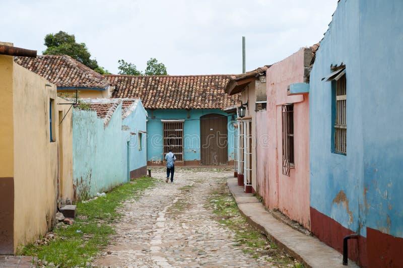 Rue colorée - Trinidad - Cuba image stock