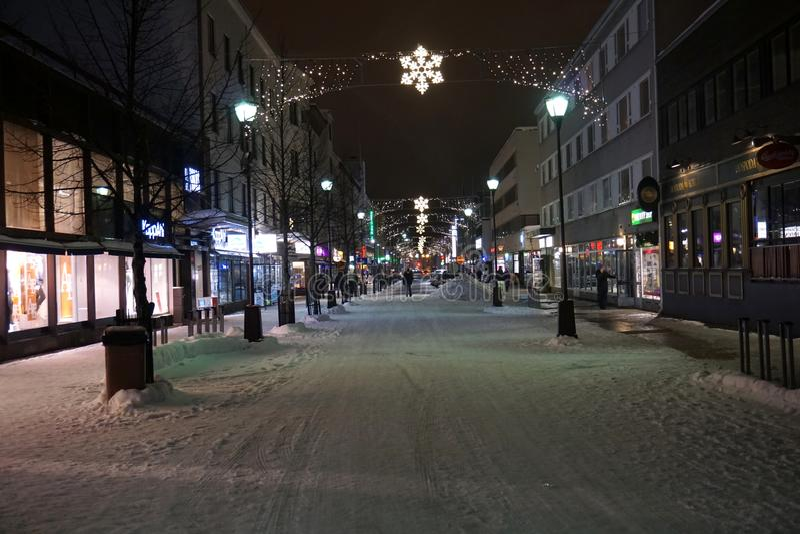 Rue décorée pour Noël photographie stock