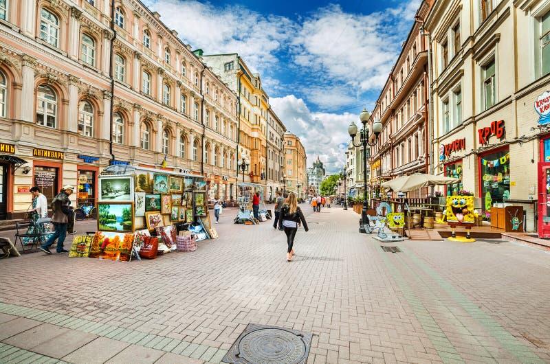 Rue d'Arbat à Moscou images stock