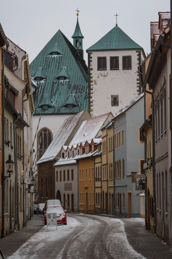 Rue d'hiver de Freiberg photographie stock
