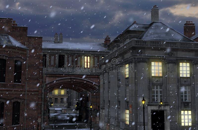 Rue d'hiver la nuit avec les bâtiments du 19ème siècle de ville illustration libre de droits