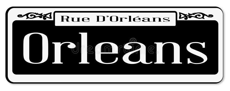 Rue D ` Orleans lokalisiertes Straßenschild lizenzfreie abbildung