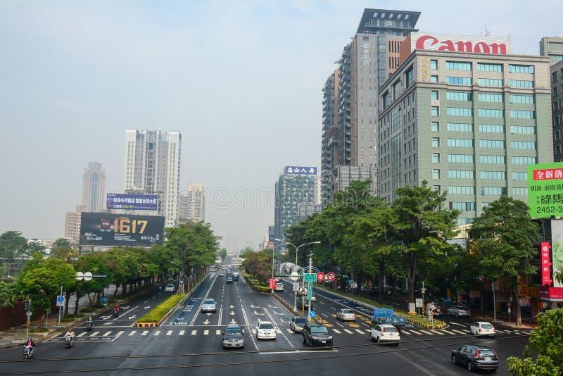 Rue dans la ville de Taïpeh, Taïwan photo libre de droits