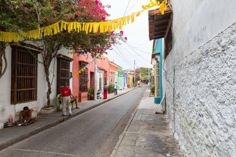 Rue dans le getsemani, Carthagène images libres de droits