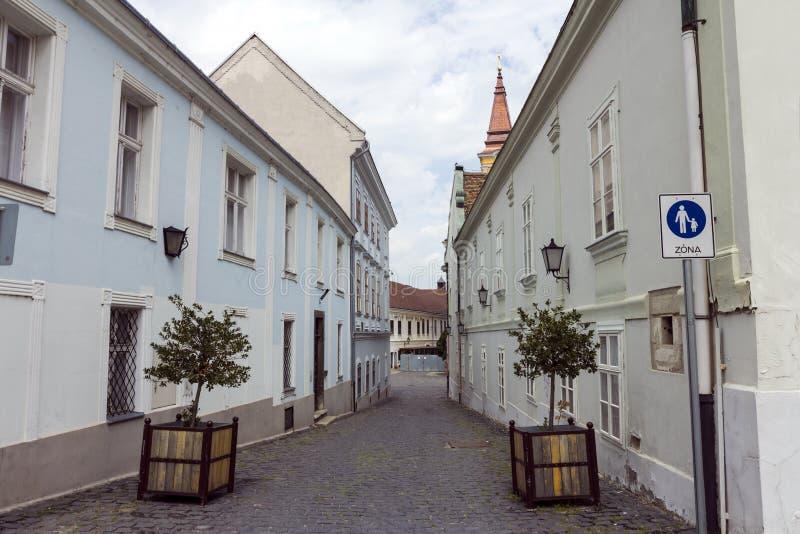 Rue dans Szekesfehervar, Hongrie photographie stock