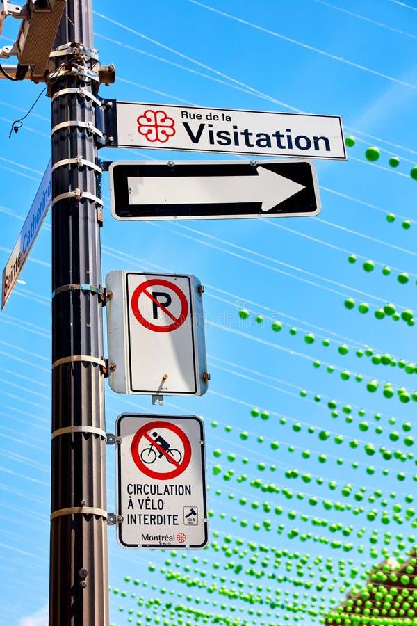 Rue de Λα visitation, κανένας χώρος στάθμευσης και καμία bicycile οδηγώντας οδός στοκ εικόνες