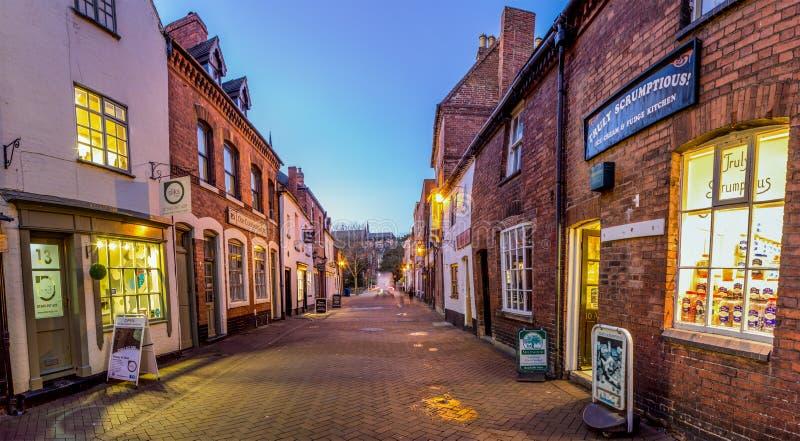 Rue de barrage, ville de Lichfield image libre de droits