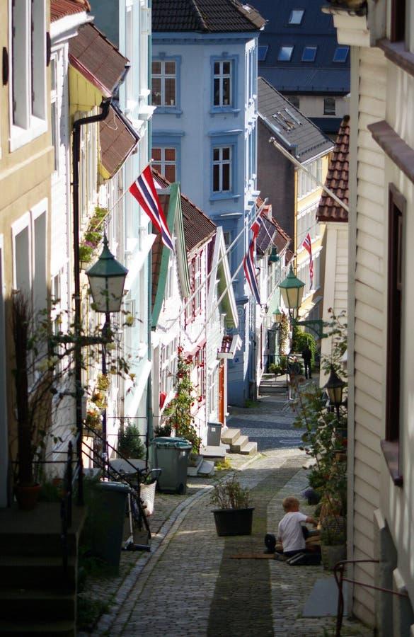 Rue de Bergen, Norvège. image libre de droits