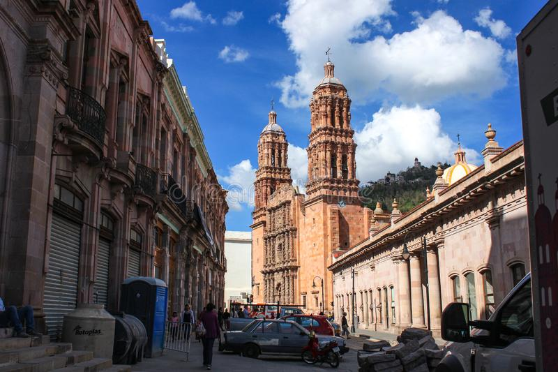 Rue de centre-ville de Zacatecas Arquitecture traditionnel Ville magique du Mexique image libre de droits