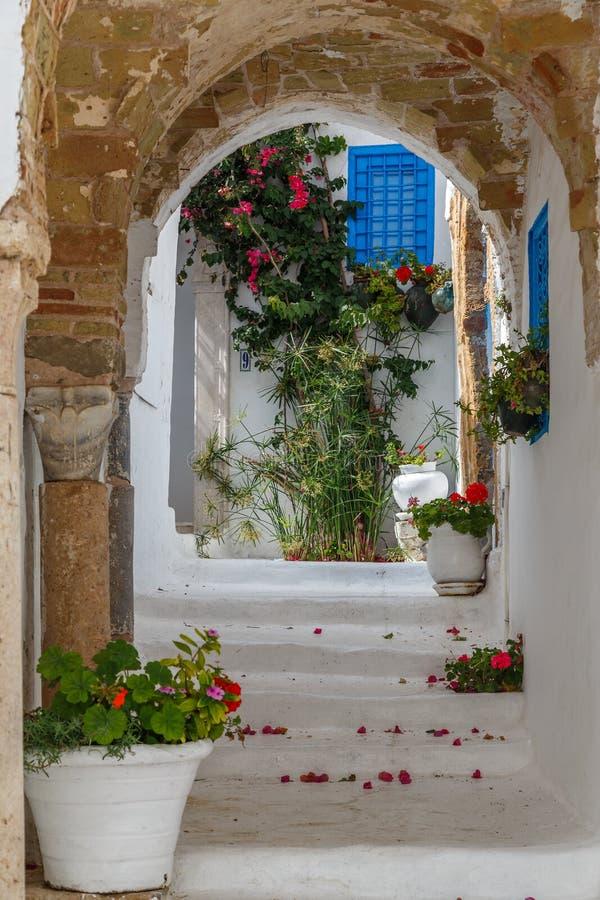 Rue de charmer la ville côtière Sidi Bou Said près de capital de Tunis, Tunisie photo libre de droits