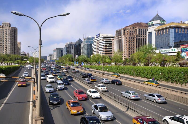 Rue de finances de la Chine Pékin, horizontal urbain photo libre de droits