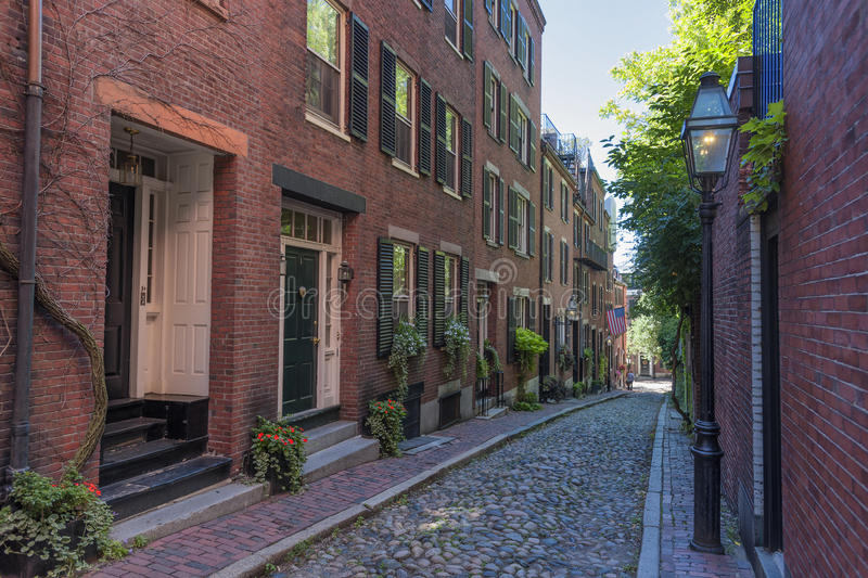 Rue de gland du ` s de Beacon Hill à Boston le Massachusetts image stock