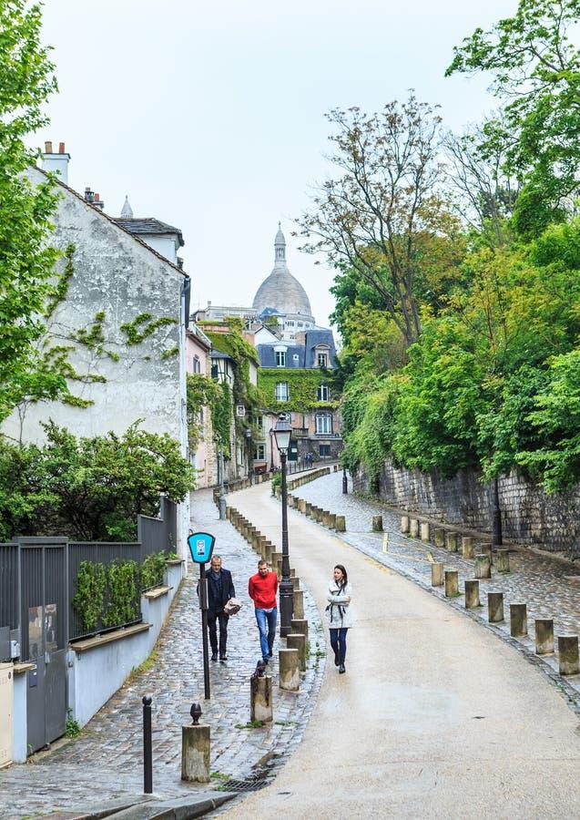 Rue De L ` Abreuvoir, Montmartre, París foto de archivo