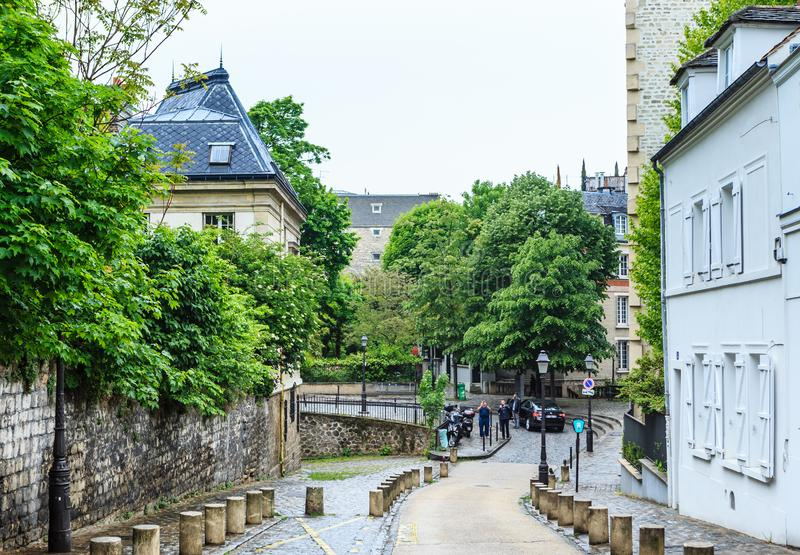 Rue De L ` Abreuvoir, Montmartre, París imagen de archivo