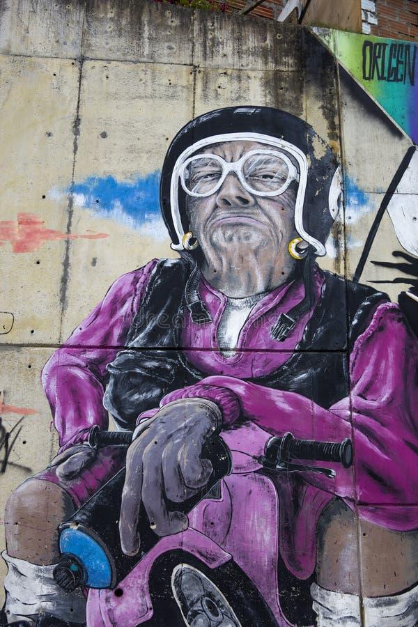 Rue de la Commune 13 à Medellin, Colombie photos libres de droits
