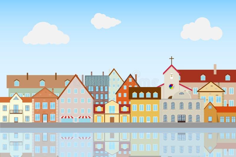 Rue de la vieille ville, remblai Des Chambres sont reflétées dans l'eau illustration stock