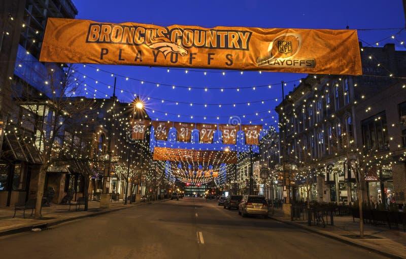 Rue de Larimer à Denver images libres de droits