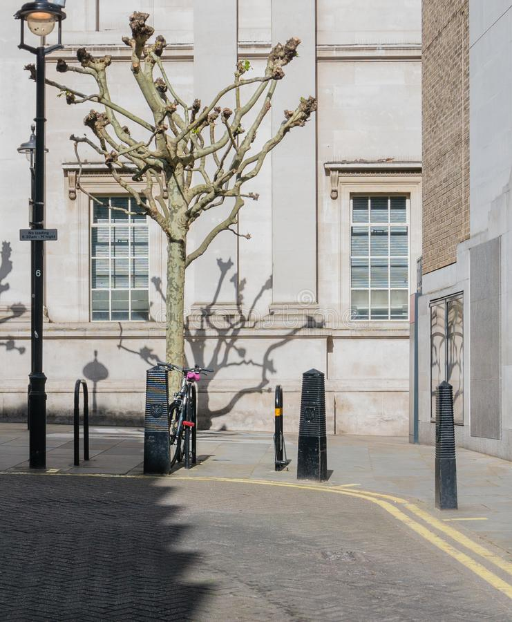 Rue de Londres avec le vélo et l'arbre photo stock