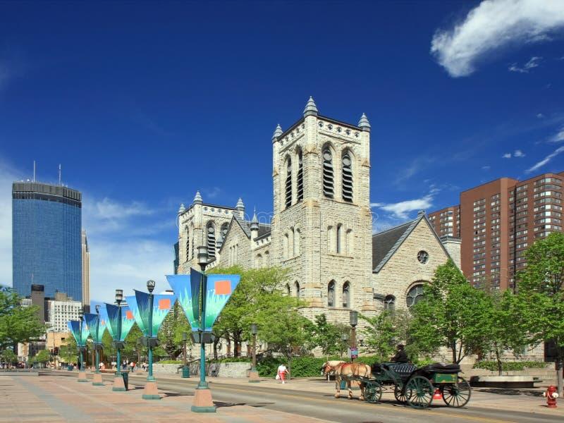 Rue de mail de Nicollet à Minneapolis images libres de droits
