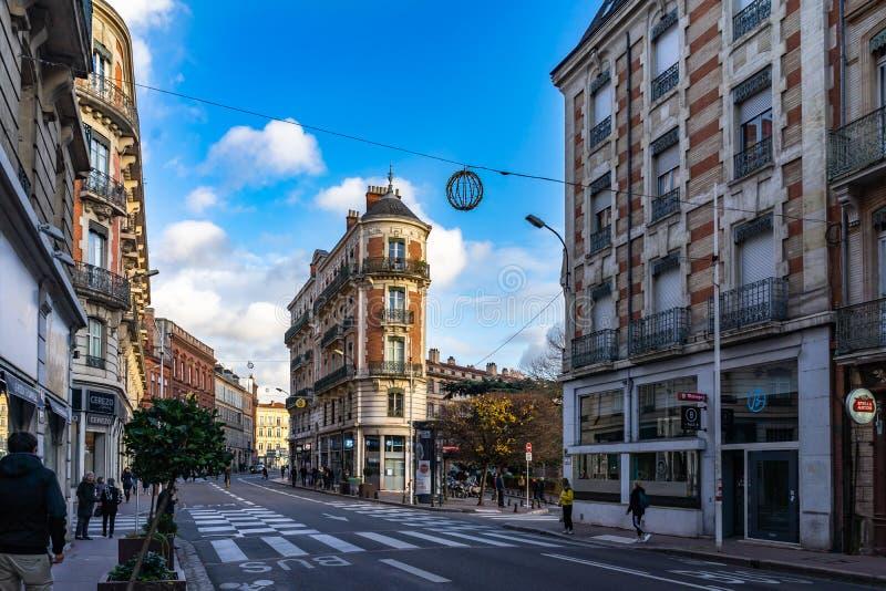 Rue de Metz i Toulouse, Frankrike arkivfoto