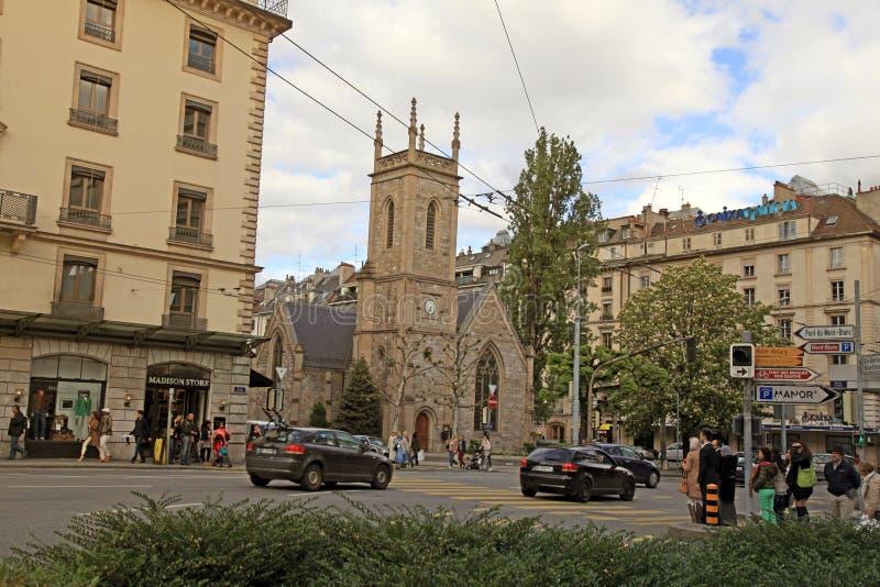 Rue de Mont-Blanc en Ginebra, Suiza imágenes de archivo libres de regalías