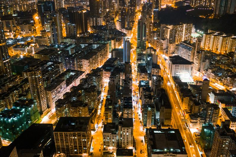 Rue de nuit dans Kowloon, Hong Kong photo libre de droits