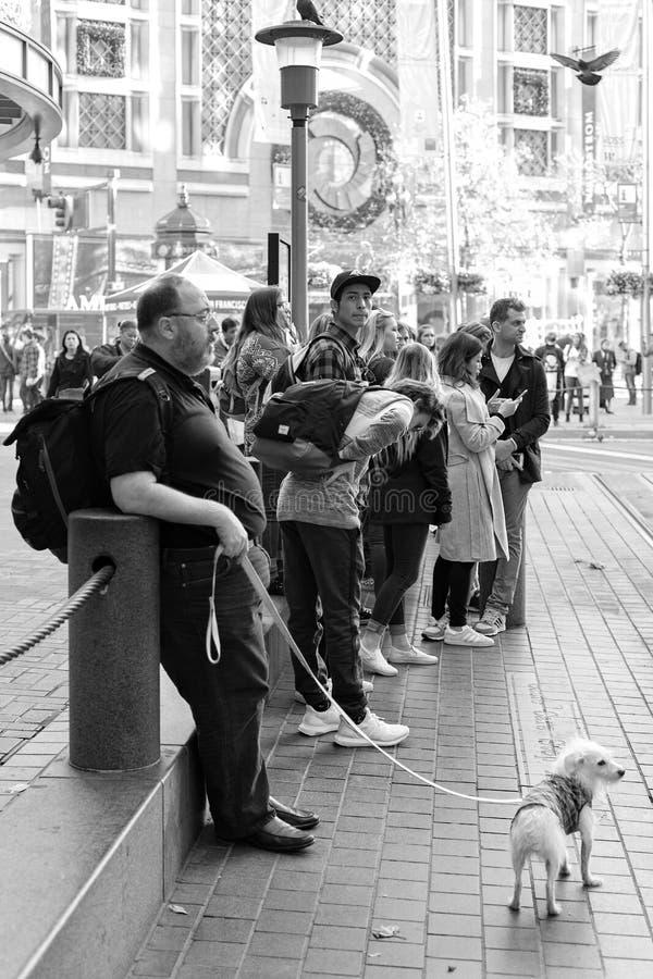 Rue de Powell, San Francisco, Etats-Unis - les touristes attendent le tram Powell-Hyde de funiculaire, photo libre de droits