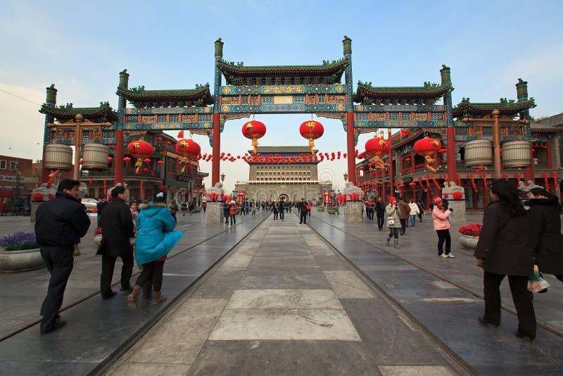 Rue de Qianmen à Pékin, Chine photos libres de droits