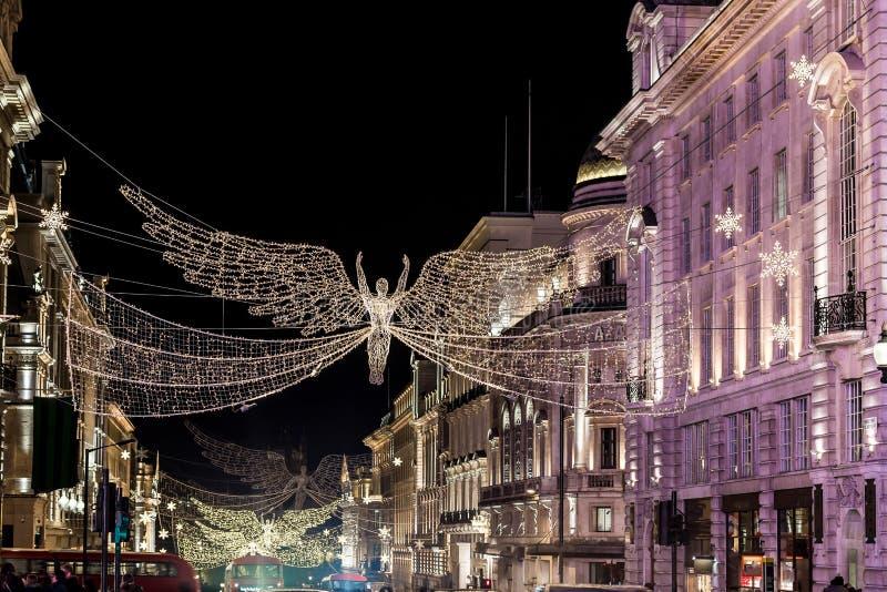 Rue de régents décorée pour Noël 2017, Londres image libre de droits