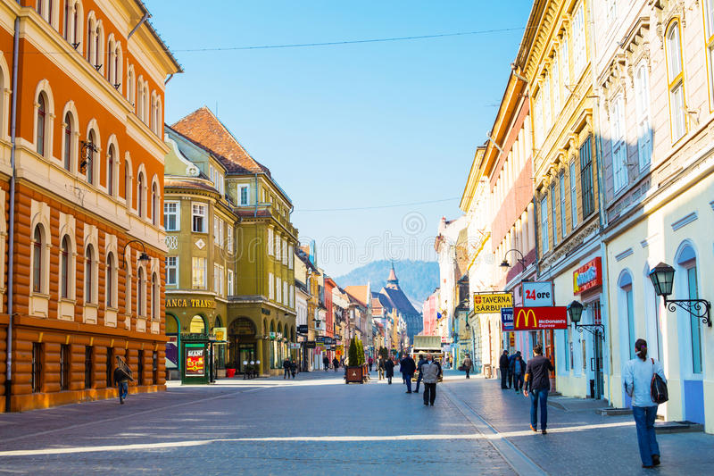 Rue de Republicii de piéton au centre ville de image stock