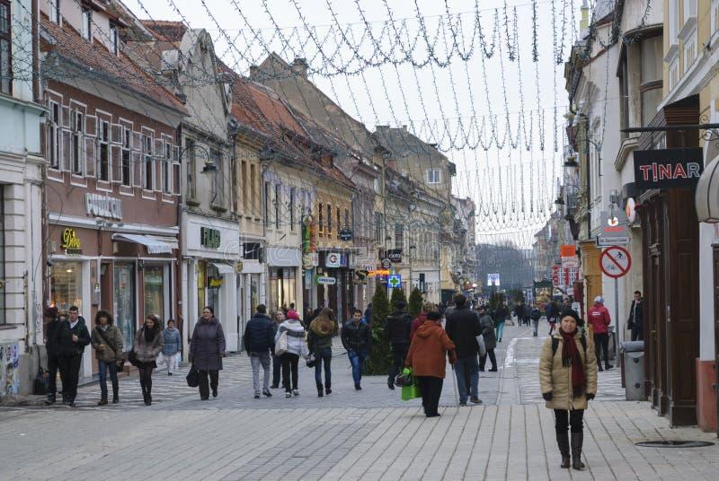 Rue de Republicii de ville de Brasov image libre de droits