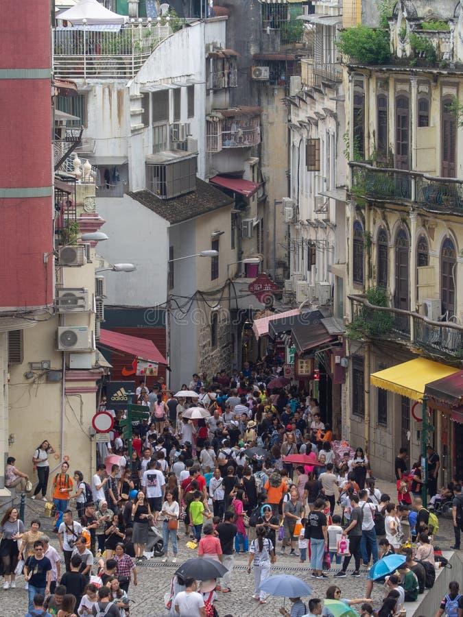 Rue de Rua de S Paul, Macao photographie stock libre de droits