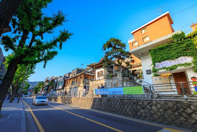 Rue de Samcheong Dong le 19 juin 2017 dans la ville de Séoul, Corée photos libres de droits