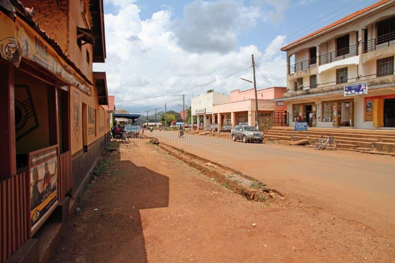 Rue de touristes de Masindi, Ouganda photo libre de droits