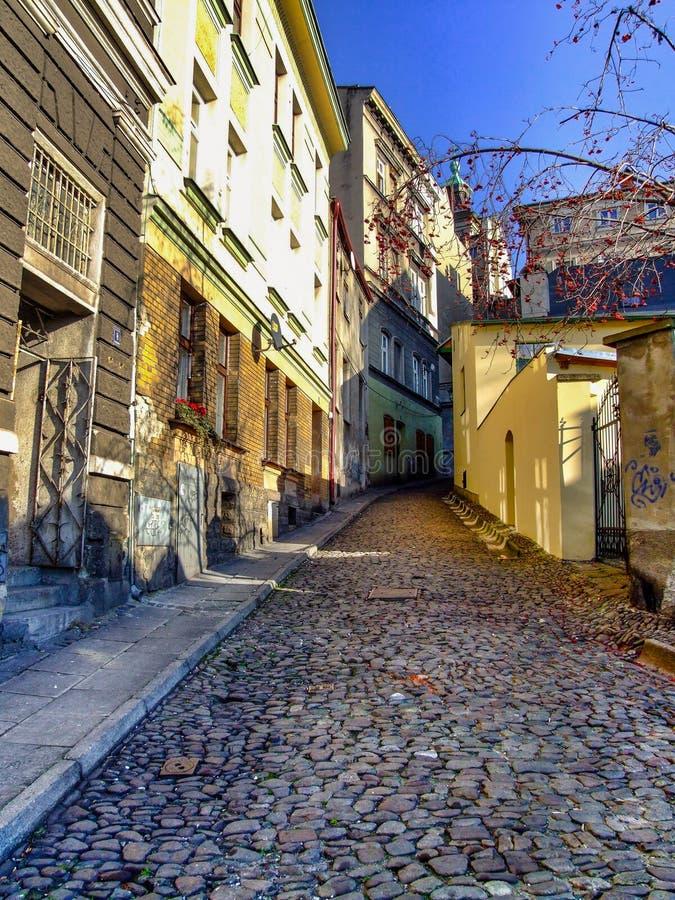 Rue de Trzech Braci dans Cieszyn en Pologne images libres de droits